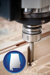 alabama map icon and a CNC milling machine cutting wood