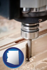 arizona map icon and a CNC milling machine cutting wood