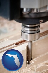 florida a CNC milling machine cutting wood