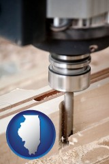 illinois map icon and a CNC milling machine cutting wood