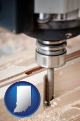 indiana map icon and a CNC milling machine cutting wood