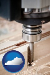 kentucky map icon and a CNC milling machine cutting wood