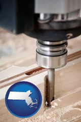 massachusetts a CNC milling machine cutting wood