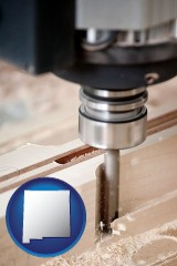 new-mexico map icon and a CNC milling machine cutting wood