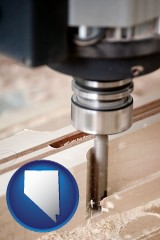 nevada map icon and a CNC milling machine cutting wood