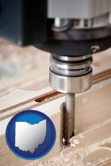 ohio map icon and a CNC milling machine cutting wood