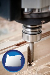oregon a CNC milling machine cutting wood