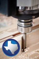 texas map icon and a CNC milling machine cutting wood
