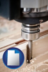 utah a CNC milling machine cutting wood