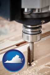 virginia a CNC milling machine cutting wood
