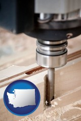 washington a CNC milling machine cutting wood