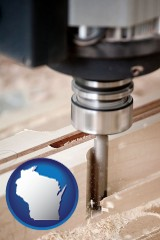 wisconsin map icon and a CNC milling machine cutting wood