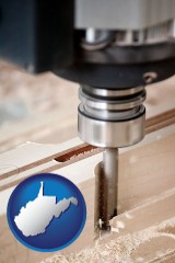 west-virginia a CNC milling machine cutting wood
