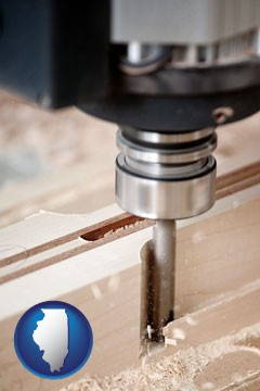 a CNC milling machine cutting wood - with Illinois icon