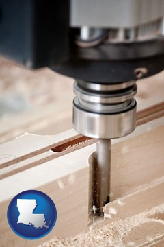 a CNC milling machine cutting wood - with Louisiana icon