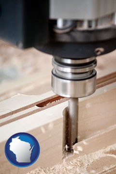 a CNC milling machine cutting wood - with Wisconsin icon